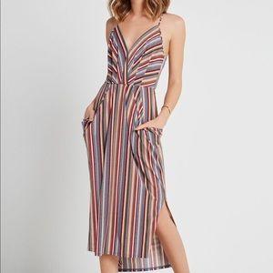 BCBG - Faux Wrap Midi Dress Drape Pockets